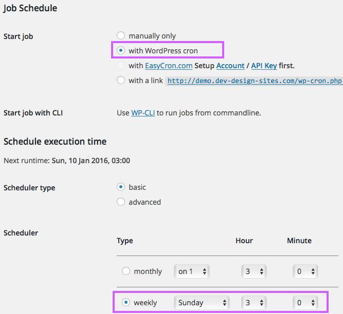 BackWPup Job Schedule