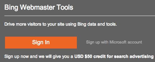 bing webmaster tools signup