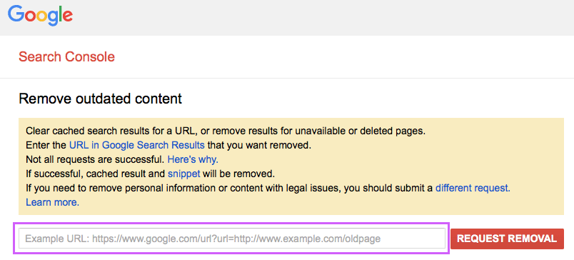 google removal urls tools