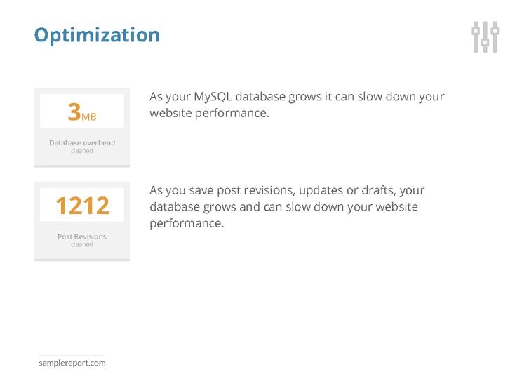 sample website report - optimization