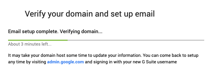 image showing the verify domain screen of google g suite setup